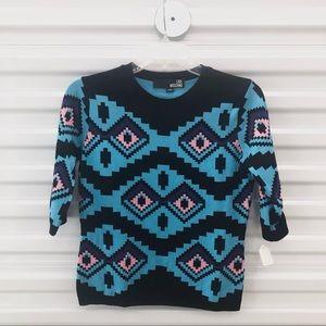Love Moschino Blue Aztec Pixel Top